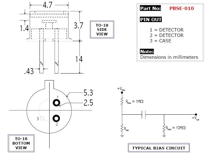 红外探测器 硒化铅(pbse)光电二极管  产品型号:pbse-010